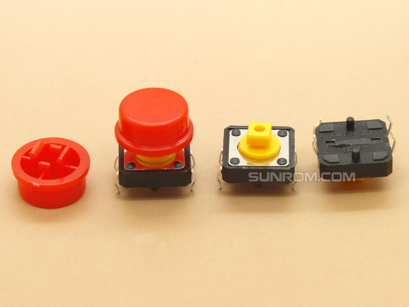 Red Round Cap for Omron B3F Series Switches