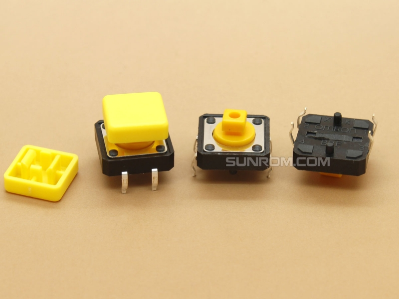 Yellow Square Cap for Omron B3F Series Switches