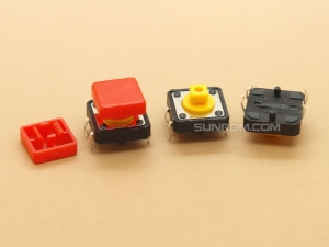 Red Square Cap for Omron B3F Series Switches