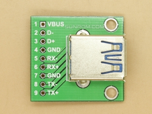 USB 3.0 Breakout PCB Board with USB Connector Soldered
