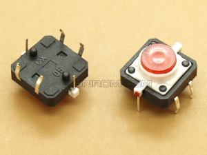 Switch with Red LED 12x12x7.3mm