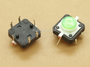 Switch with Green LED 12x12x7.3mm