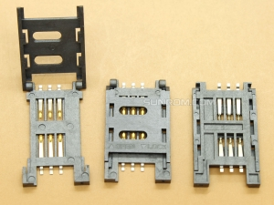 SIM Card Holder - 6 pin - Flip Open - Hinge Cover Type