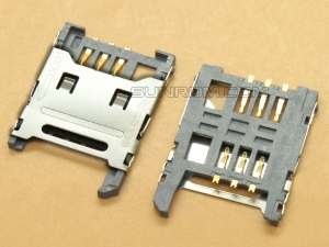 SIM Card Holder - 6 pin - Flip Open - Metal Hinge