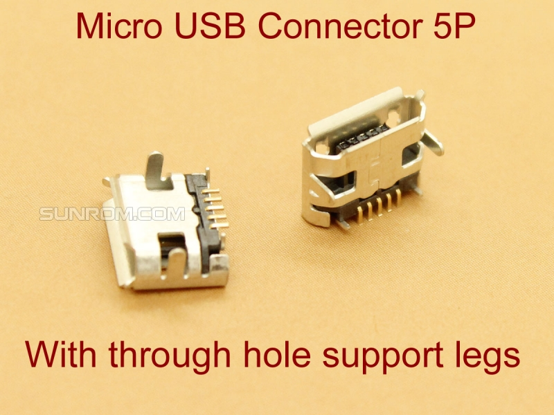 MicroUSB Connector with through hole support Legs