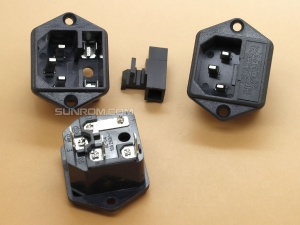 AC Power Socket with Fuse - Screw Mount - IEC C14