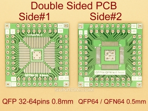 QFP64 - QFN64 0.5mm / 0.8mm Adapter PCB
