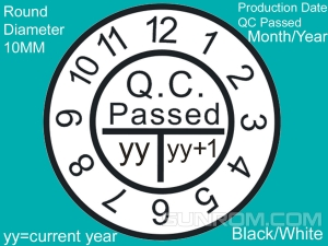 QC Passed Sticker with Manufacturer Month/Year Marking
