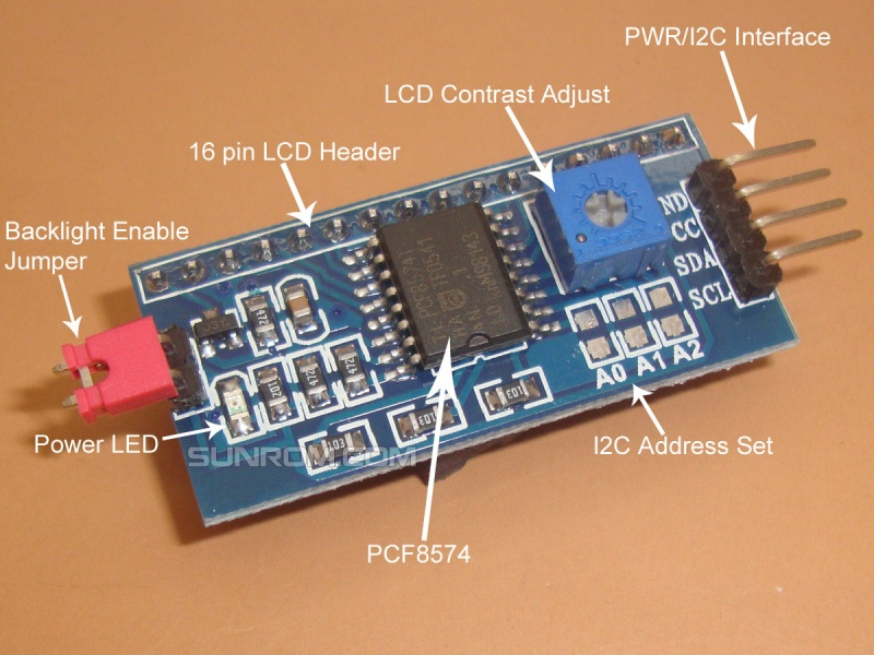 I2c Lcd Backpack Pcf8574 4585 Sunrom Electronics