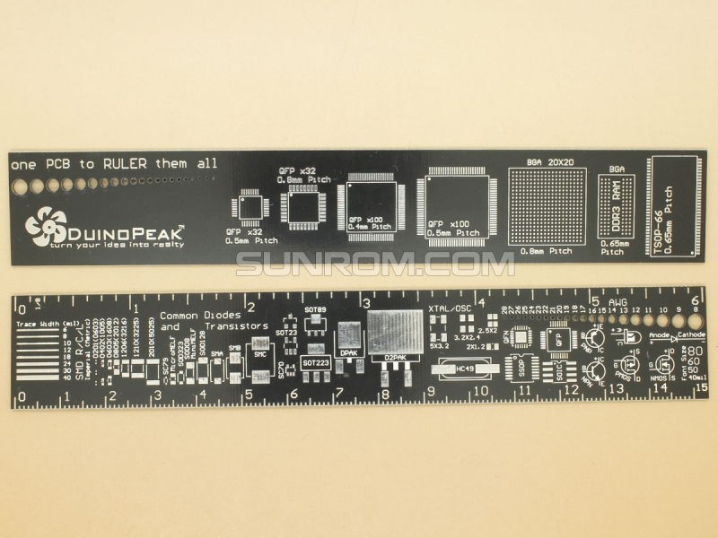 PCB Ruler for Quick SMD Footprint & Dimensions Query [5405] : Sunrom