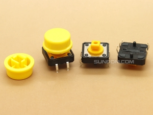 Yellow Round Cap for Omron B3F Series Switches