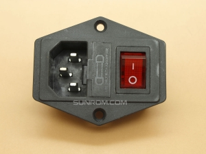 AC Power Inlet Socket with Indicator Switch/Fuse Holder - Screw Mount - IEC 60320 C14 - 3750W (250Vx15A)