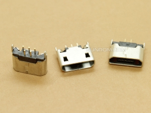 Micro USB Connector - B Female - 5 Pin Through Hole - Vertical Mounting