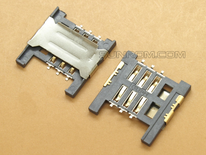 SIM Card Holder - 6 pin - Push In type [5520] : Sunrom
