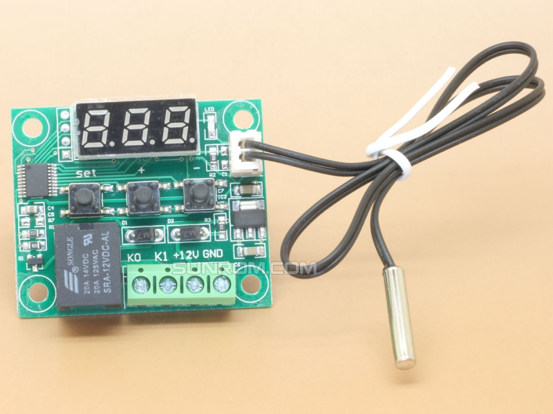 Temperature Control Relay - Thermostat - 12V DC - Red - XH-W1209