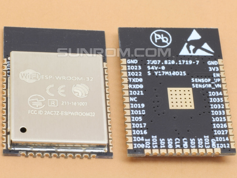 ESP32 ESP-WROOM-32 Wifi+Bluetooth Module [6183] : Sunrom