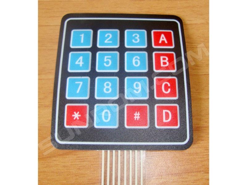 Matrix Keypad 4x4, Membrane type, Self Adhesive [3927] : Sunrom