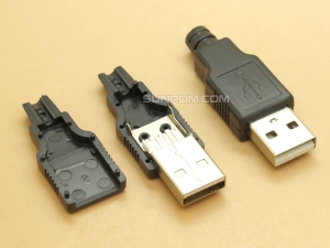 USB 2.0 - A-Type Plug Male - 4 pin - DIY Wire Solder - Black