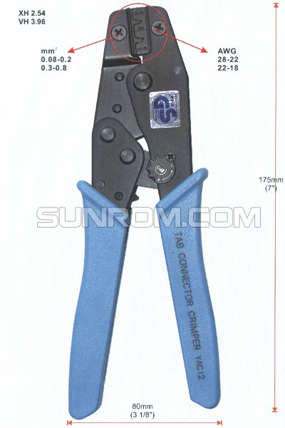 crimping tool for jst xh vh type connectors yac12 5134 sunrom electronics technologies. Black Bedroom Furniture Sets. Home Design Ideas
