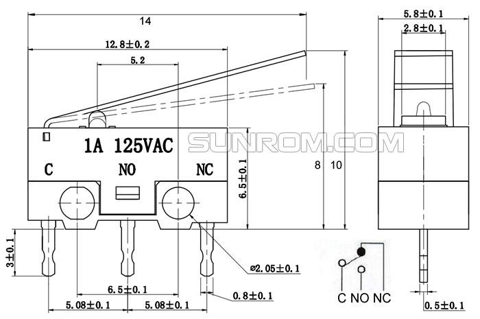 Mini Limit Switch [5211] : Sunrom Electronics/Technologies on