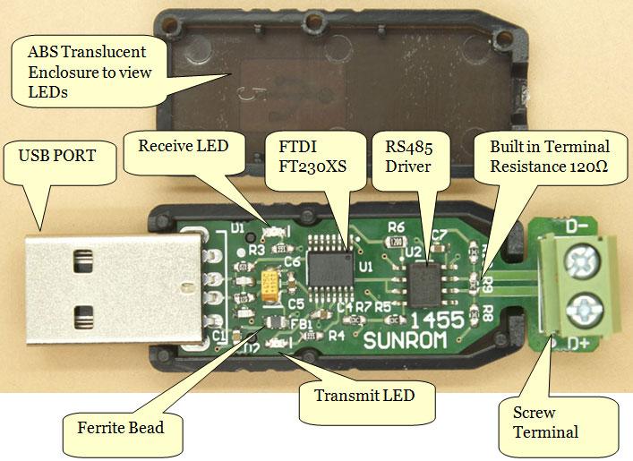 USB to RS485 Converter - FTDI FT230X [1455] : Sunrom