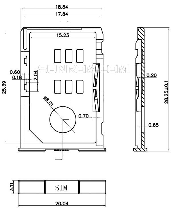 Sim Card Holder 6 Pin Push In Eject Yellow Pin Sim Tray
