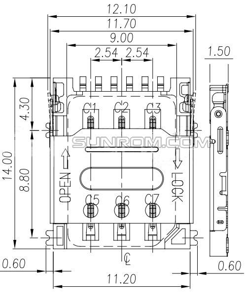 nano sim card holder - 6 pin - flip open  technologies