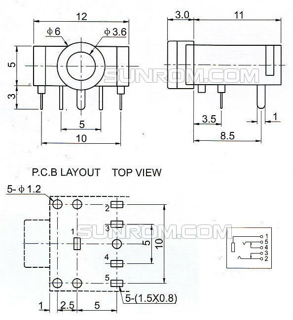 Stereo Socket - PCB Mount - 3.5mm [3986] : Sunrom Electronics/TechnologiesSunrom