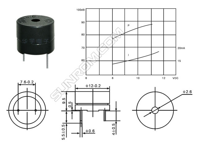 electromagnetic active buzzer 5v  4149    sunrom