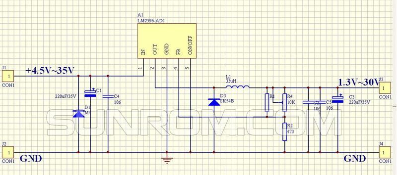 Dc Dc Step Down 3a Lm2596 4314 Sunrom Electronics