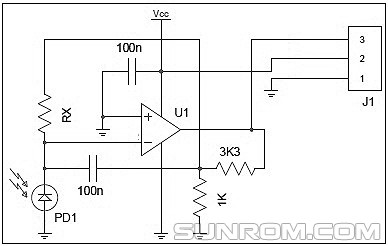 Ultravoiletuv light radiation sensor 4486 sunrom electronics here is the basic circuit diagram of the uv sensor module in the circuit pd1 is the guva s12sd and u1 is the sgm8521 rx is 10m cheapraybanclubmaster Image collections